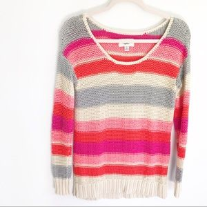 American Eagle Striped Tan Long Sleeve Sweater